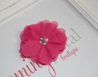 Hot Pink Chiffon Rhinestone/Pearl Flower Clip
