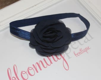 Navy Chiffon Flower Headband