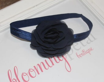 Navy Chiffon Flower Headband