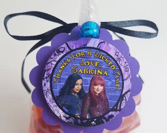 """Personalized Disney's Descendants 2  Mal Evie Birthday Party Favor Bag Tags 2"""" Scallop Purple Black Teal Turquoise"""