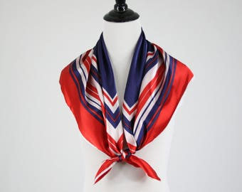 1970s Red White Blue Square Acetate Scarf