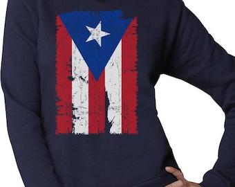 Vintage Distressed Puerto Rico Flag Women Sweatshirt