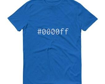 Blue #0000ff Mens Short-Sleeve T-Shirt Graphic Design Code Shirt