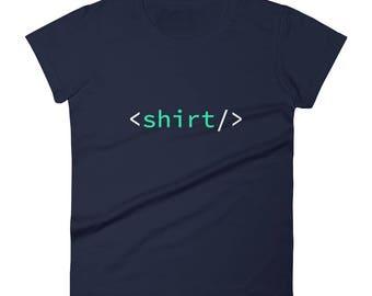 HTML <shirt/> Code Nerd Tag Developer Women's short sleeve t-shirt