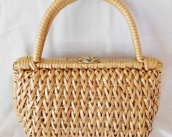 vintage PURSE HANDBAG wicker bags by Donna made in taiwan