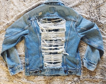 Vintage Levis Shredded Back Denim Jacket Jean Jacket 90s Light Wash