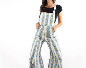 Wide Leg Overalls - vintage recycled fabric, handmade sustainable, 70's romper Psychedelic Baglady highwaisted flared leg design, boho style