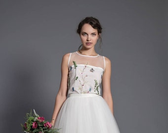 floral wedding blouse - sleeveless wedding top - floral embroidery top - 2 piece dress - wedding separates - wedding top - bridal collection