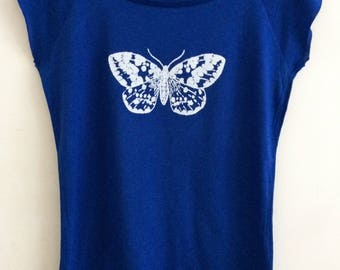 White Moth  Womens  bamboo viscose and organic cotton midnight  blue  T shirt