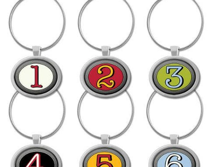 Number Wine Charms,  6 Per Set