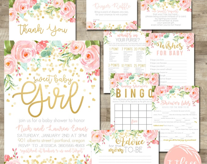 Baby shower packages t3 designs co gold confetti baby shower package girl baby shower invitation package girl baby shower invite filmwisefo Choice Image