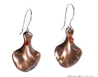 Textured Copper Fan Shaped Earrings with Swarovski Crystals