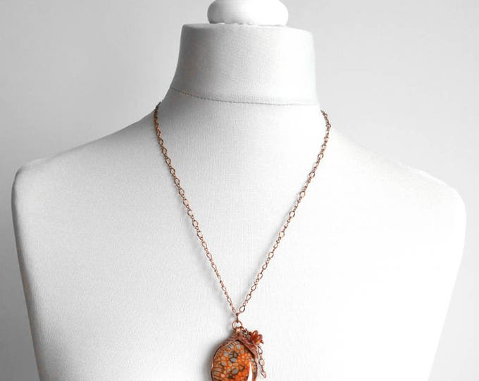 Dragon necklace copper necklace copper agate agate jewelry agate pendant necklace agate stone agate Metalwork necklace Hand Stamped Jewelry
