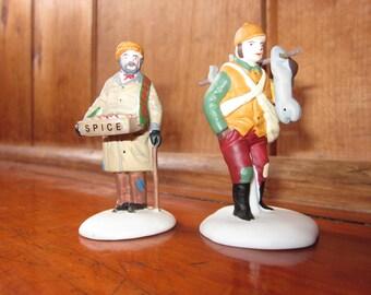 "Vintage Department 56 ""Village Street Peddlers"" Set of 2 Hand Painted Porcelain Accessories Heritage Village Collection Christmas #5804-1"