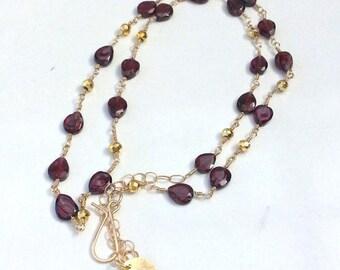 Garnet Birthstone Necklace - Red Stone Jewelry - Gemstone Jewelry - Unique Silver Bib Necklace - Women Gifts - January Birthstone
