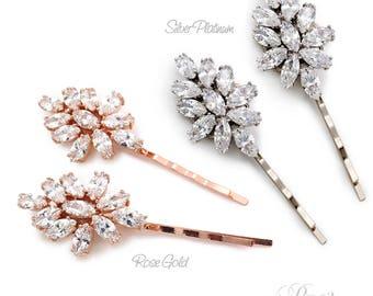 Wedding Hair Pin Set of 2 Platinum Rose Gold Zirconia Hair Pin Bobby Pin Bridal Jewelry Wedding Accessory Wedding Jewelry Bridesmaid Sasa