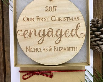 Our First Christmas Engaged Ornament, Couples Personalized Ornament, Personalized Engagement Gift, Our First Christmas Together Ornament