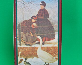 Beautiful Vintage Collectible Metal Container, Ladies Feeding The Geese