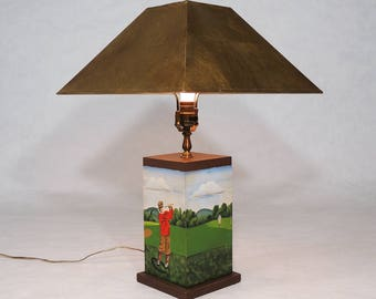 Original Vintage Golf Art Painting Signed Table Lamp