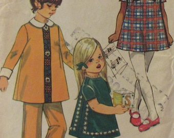 Vintage 1970  Simplicity Girls Dress, and Pants  Sewing Pattern #8990   Size  6 Uncut