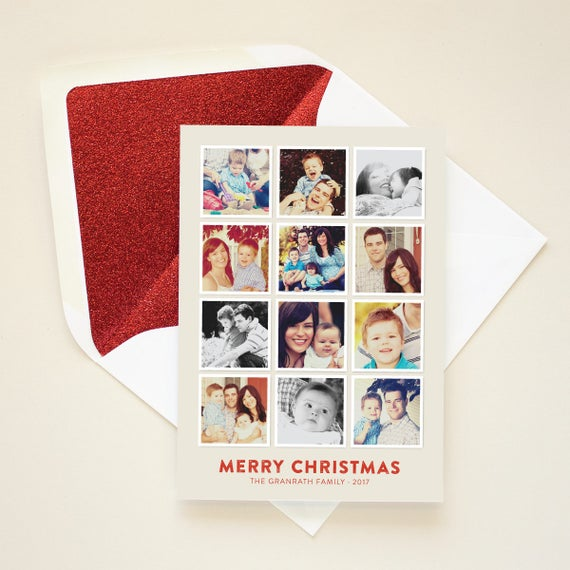 Instagram Photo Card, Holiday Card for Instagram Pictures, Square Photos, Multi Photo Gallery Christmas Card - Insta Gallery