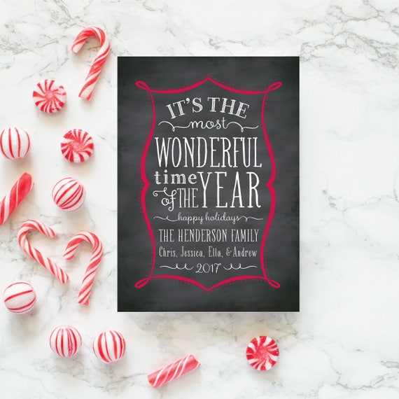 Chalkboard Greeting Card, Unique Christmas Card, Chalkboard Christmas Cards, Non Photo Holiday Card - Chalked Frame