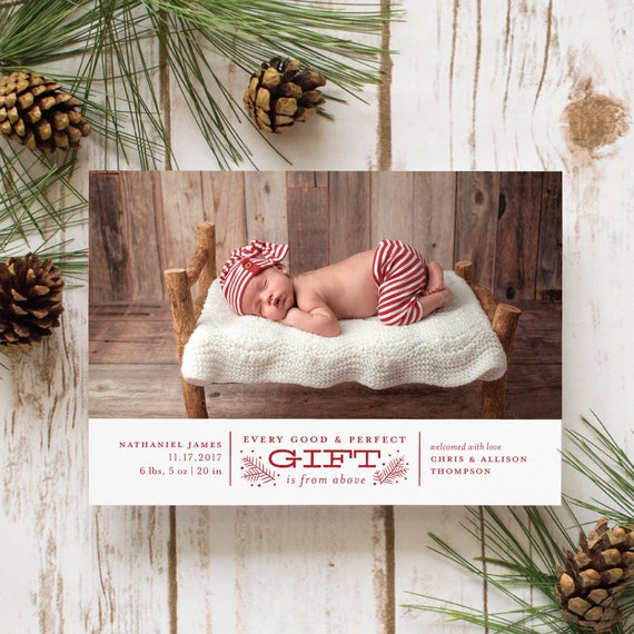 Birth Announcement Christmas Card, Winter Birth Announcements, Baby's First Christmas Card with Newborn Photo | Every Good and Perfect Gift