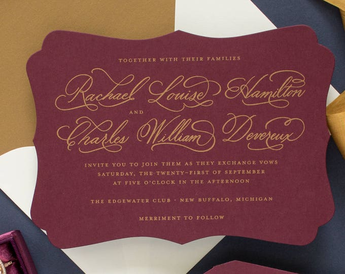 Gold and Burgundy Wedding Invitations, Hand Calligraphy Invitations, Die Cut Wedding Invitations with Calligraphy | SAMPLE | Cherished