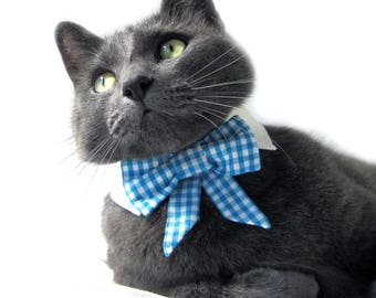 Light Blue Gingham Bow Tie, Necktie, or Bow on a Shirt Style Collar for both Dogs & Cats