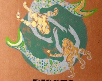 Original handmade greeting card, block print Zodiac birthday card,blank card,art card,date and traits, linocut block print, mermaids, PISCES