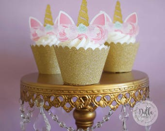 Unicorn Cupcake Topper, Unicorn cake, Unicorn Birthday, Unicorn Party, Unicorn Cake Topper, Unicorn head, Unicorn Decoration, Gold