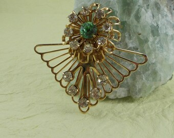Vintage Openwork Gold Finish Green Rhinestone Flower Brooch  5417