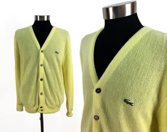 Vintage 70s Izod LACOSTE Acrylic Cardigan Sweater LARGE // Crocodile // 1970s // Pale Yellow // Retro // Throwback // L // Embroidered