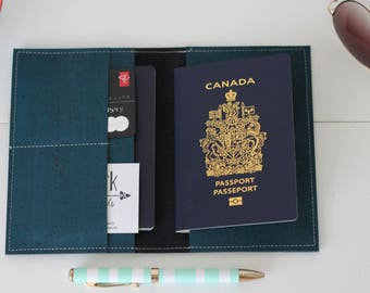 Teal Cork passport wallet, passport holder, passport cover,