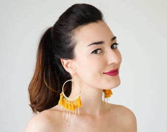 Summer Outdoors Tassel Earrings Hoop Earrings Tassel Hoop Earrings Unique Gifts For Her Tassel Jewelry Statement Earrings / TASSERA
