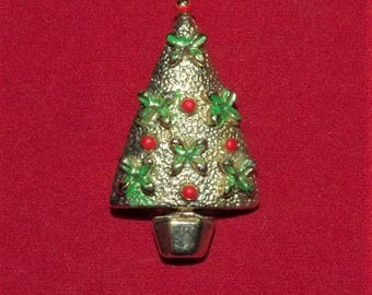 Gold Tone CHRISTMAS TREE PIN with Enameling - No. 9