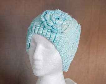 Light Blue Knit Beanie with Crocheted Flower