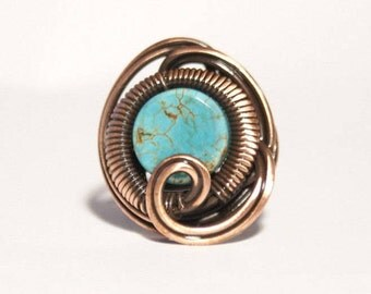 Turquoise ring copper wire with turquoise ring wire wrapped jewelry handmade copper wire jewelry wire wrapped ring handmade
