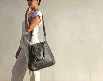 Gray leather tote, gray leather bag, gray tote bag, women leather bag, large tote bag, oversize leather bag, tote handbag, shoulder bag
