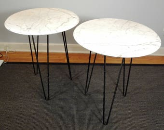 Set of 2 Vintage Mid Century Modern White Marble Tables with Iron Hair Pin Legs