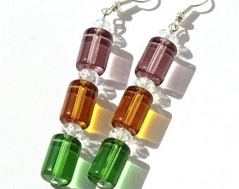 """Earrings silver tubes of pink, yellow and green and clear beads: """"The candy tubes"""""""