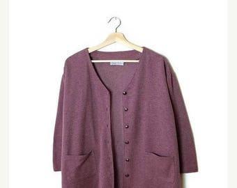ON SALE Vintage Pale/Pastel Purple Cotton blends light Cardigan from 90's*