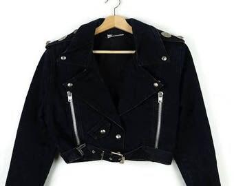 Vintage Black  Denim Riders Zip up Jacket/Motorcycle Jacket from 90's*