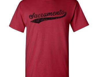 Sacramento City Script T-Shirt - Cardinal