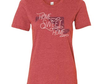 Maryland Home Sweet Home - State Pride Womens Ringspun T Shirt - Heather Red