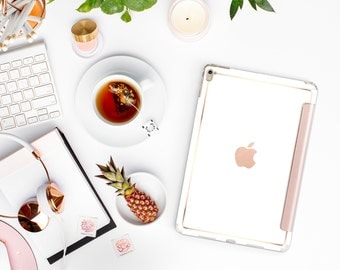 Elegant White with Rose Gold Smart Cover Hard Case for iPad Air 2, iPad mini 4 , iPad Pro , New iPad 9.7 2017 - Platinum Edition