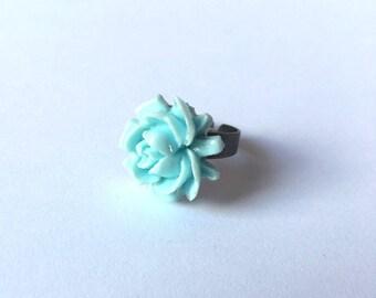 Flower Blossom Ring Mint Light Green Large Summer
