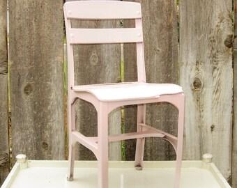 Vintage Childs Desk Chair, Chippy Farmhouse, Industrial School, Jadite Green Chippy Paint, School Chair