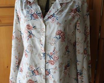 Vintage semi-sheer gray floral secretary blouse 1980's