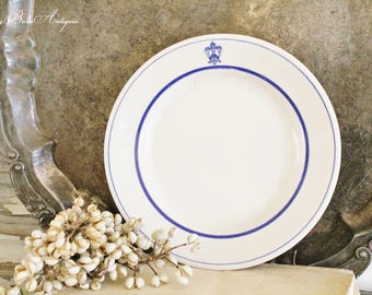 Vintage White Ironstone Plate White Flow Blue STERLING CHINA Farmhouse French Fixer Upper Decor